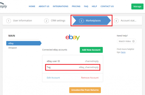 WhereAre My eBay and Amazon Tags in ChannelReply?