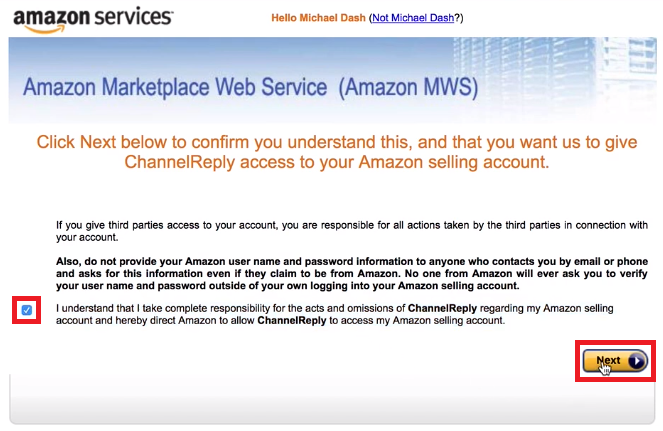 Amazon MWS Agreement for ChannelReply