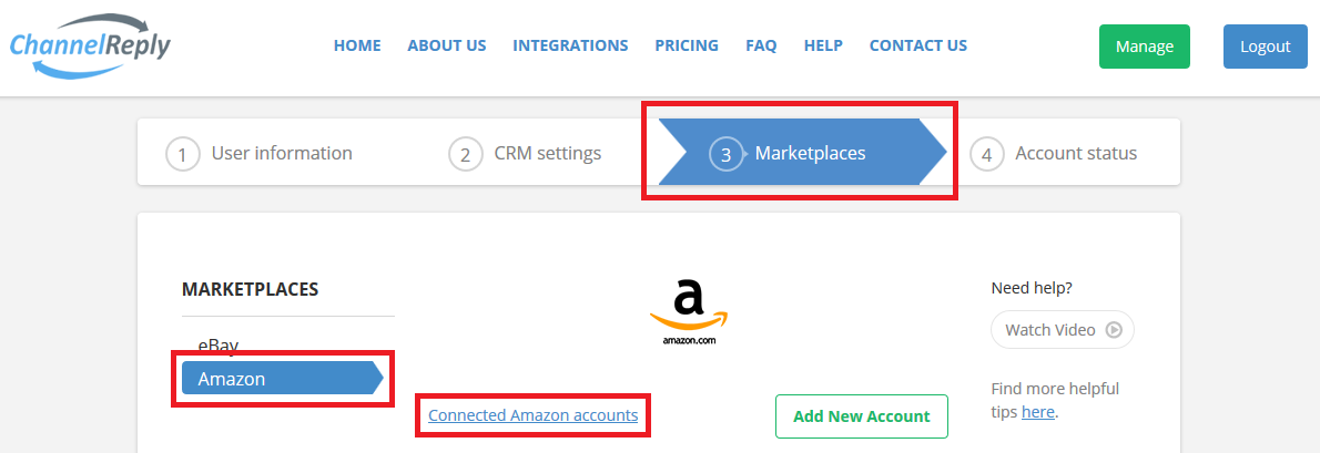 Edit Amazon Accounts in ChannelReply