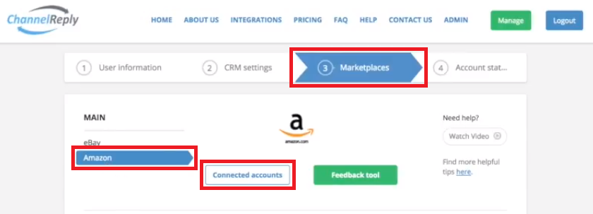 Where to Find Connected Amazon Accounts in ChannelReply