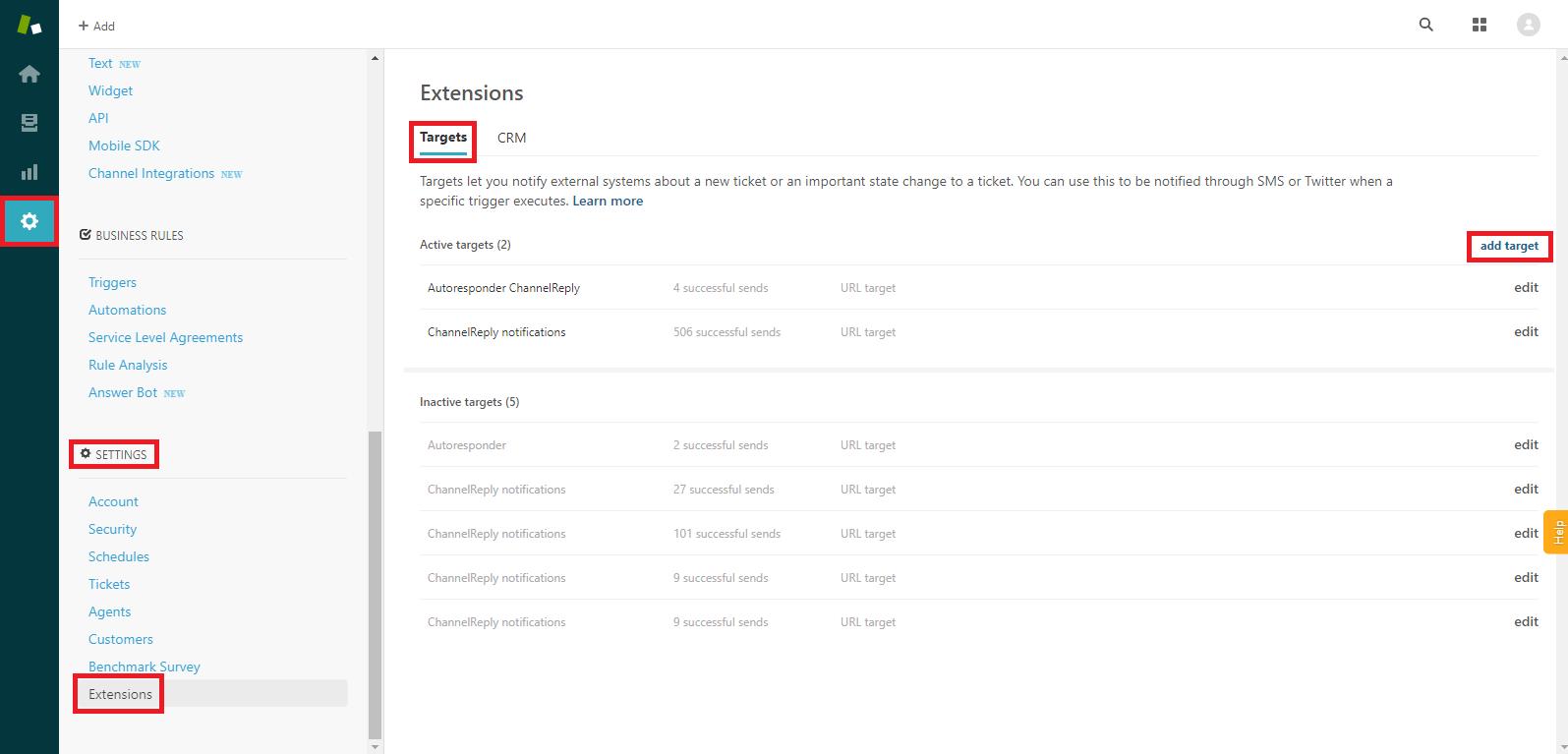 Zendesk Extensions->Targets