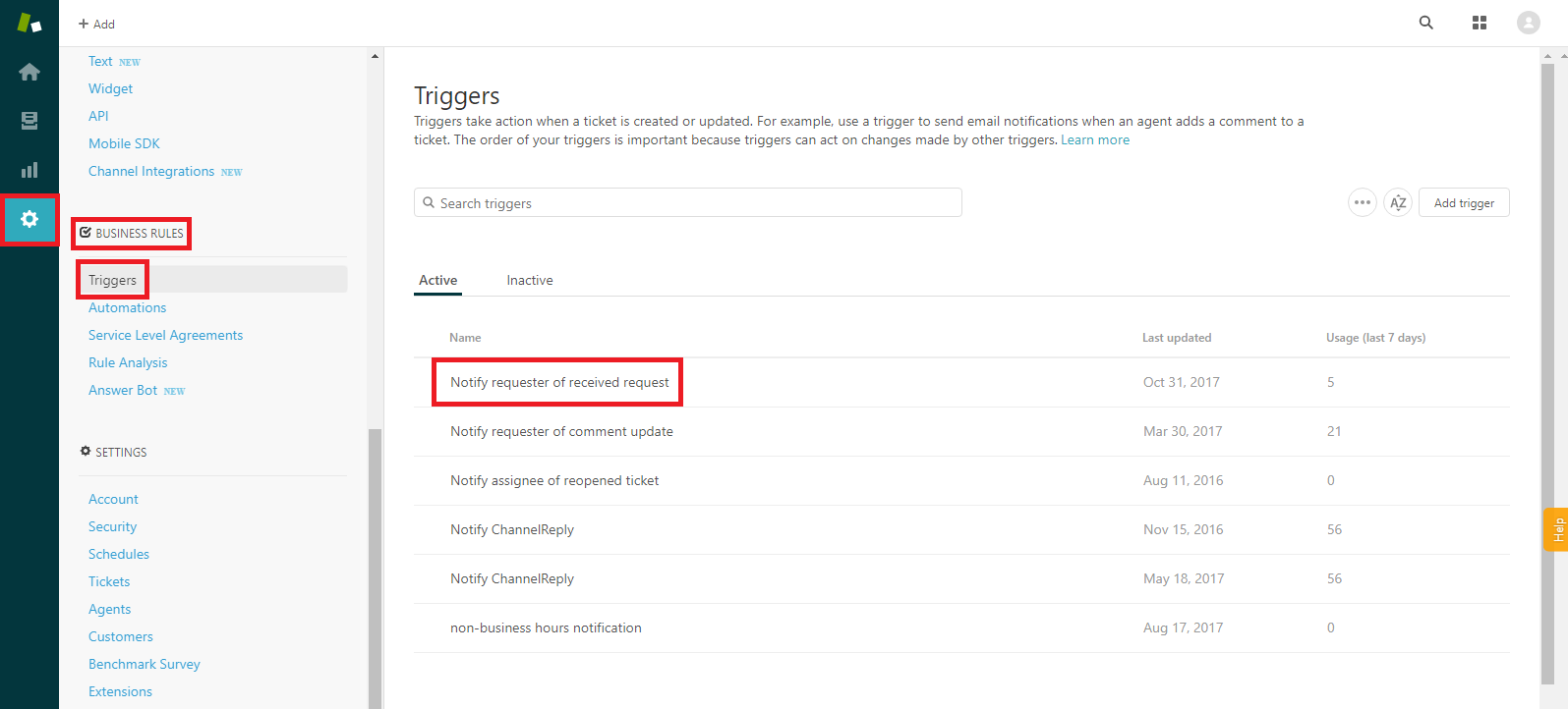 Zendesk Notify Requester of Received Request
