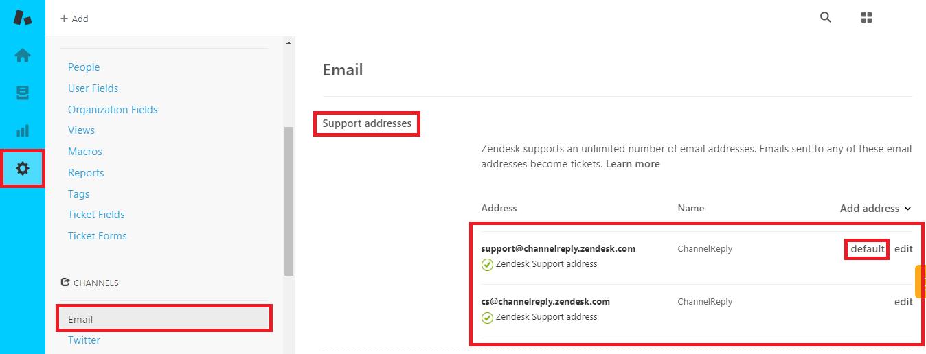 Default Support Address in Zendesk