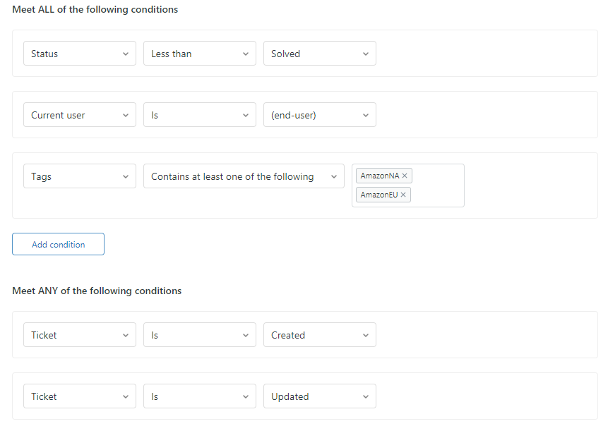Zendesk Autoresponder Conditions—Reply to Every Message