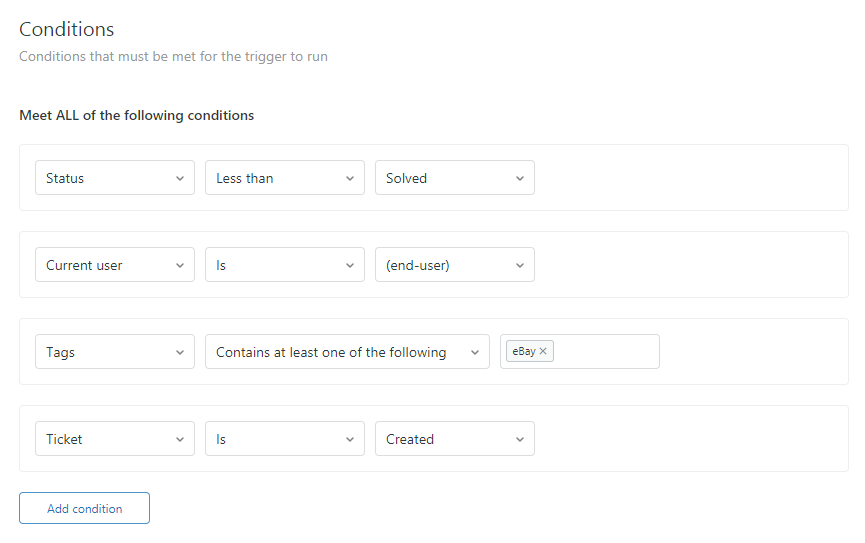 eBay Autoresponder Conditions—Reply Once per Ticket