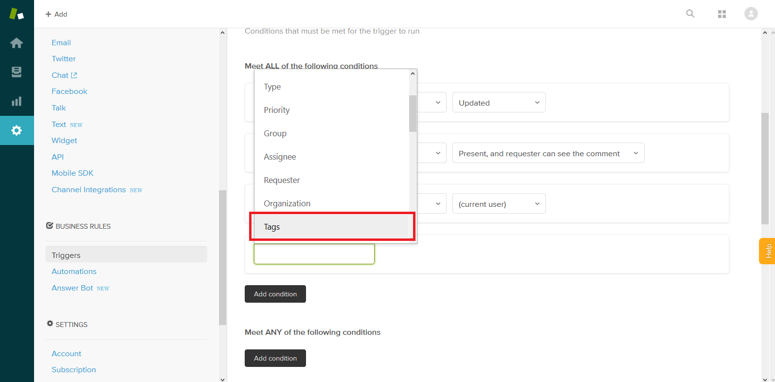 Adding a Tags Condition to a Zendesk Trigger