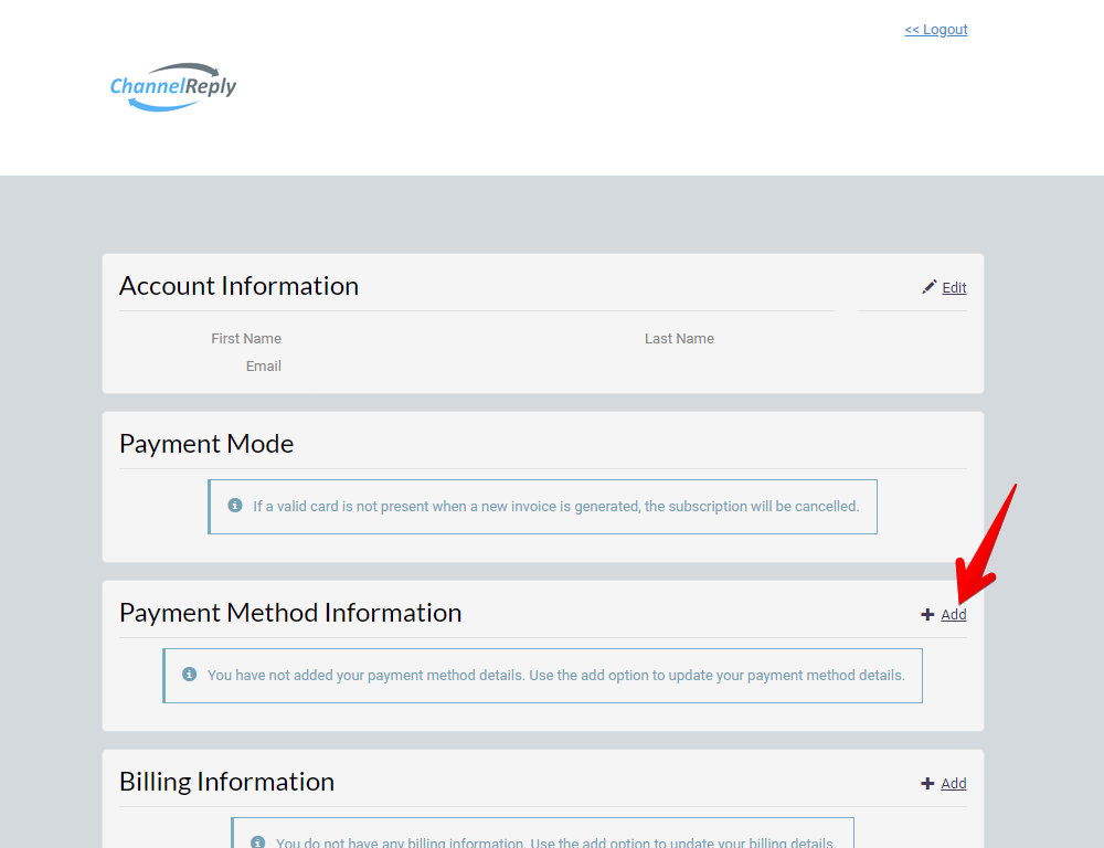 Add Payment Method in Chargebee Portal
