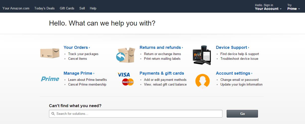 Amazon help center