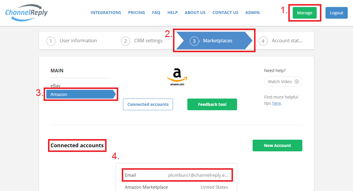 Amazon Account Management in ChannelReply