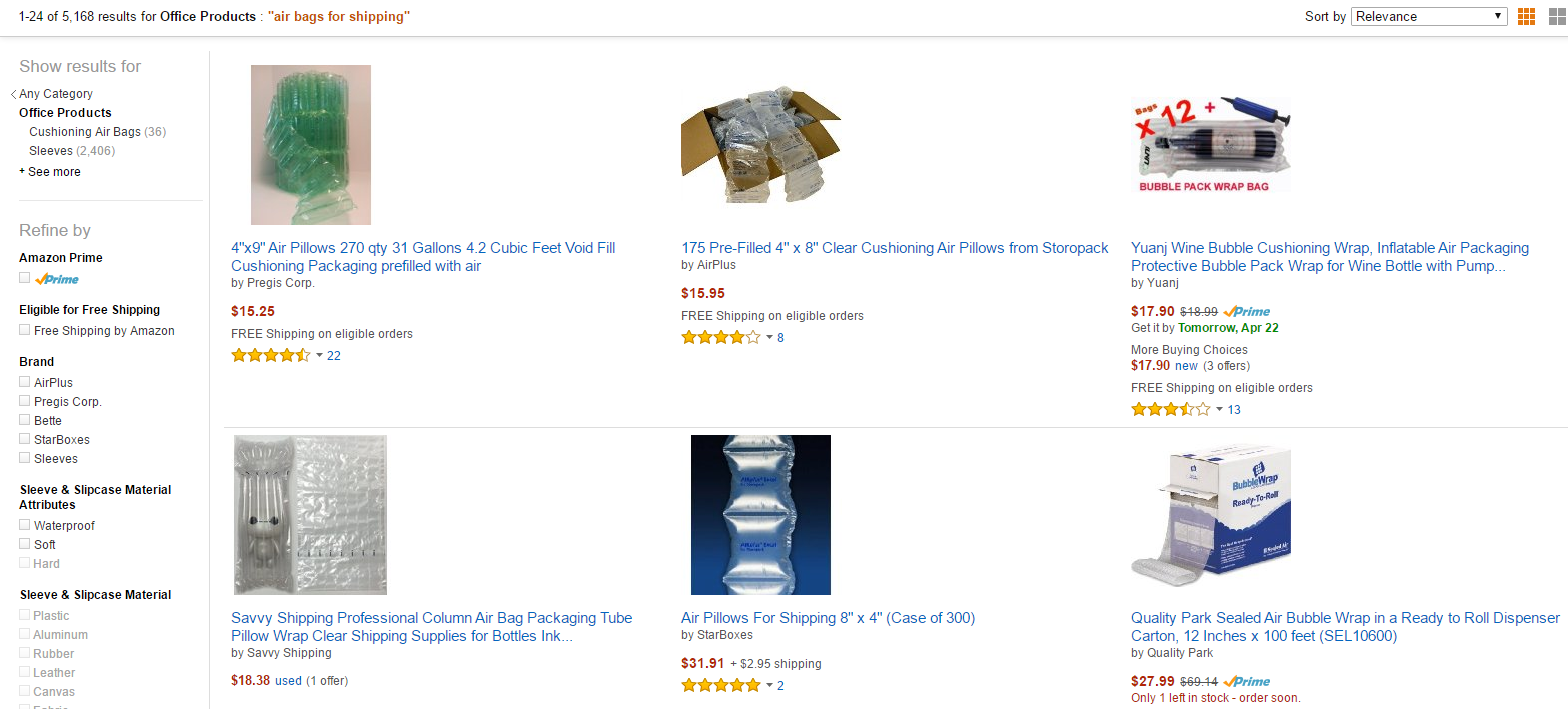 Air Bags for eBay or Amazon Packaging
