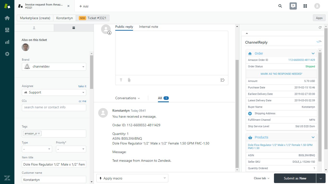 Amazon Ticket in Zendesk with ChannelReply