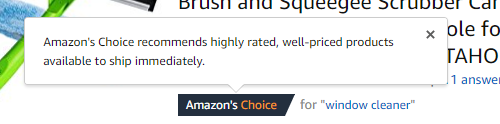 Amazon's Choice Hover Text