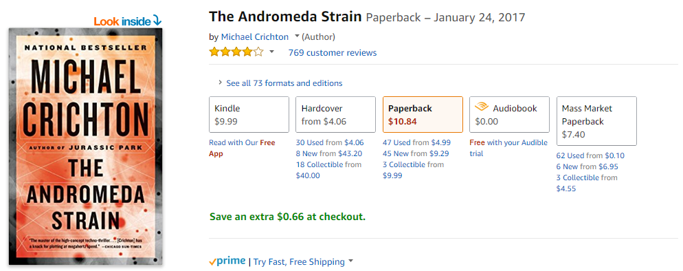 Amazon Listing of The Andromeda Strain by Michael Crichton