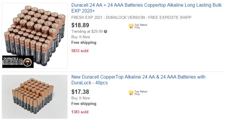 Batteries for Sale on eBay