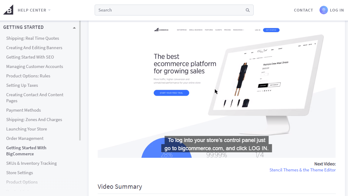 BigCommerce Knowledge Base Video