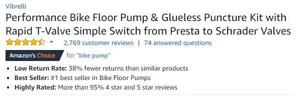 Bike Pump Listing on Amazon