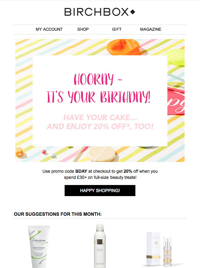 Birchbox Birthday Email
