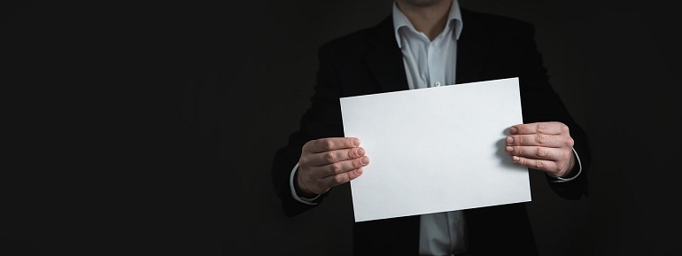 Businessman with Blank Paper