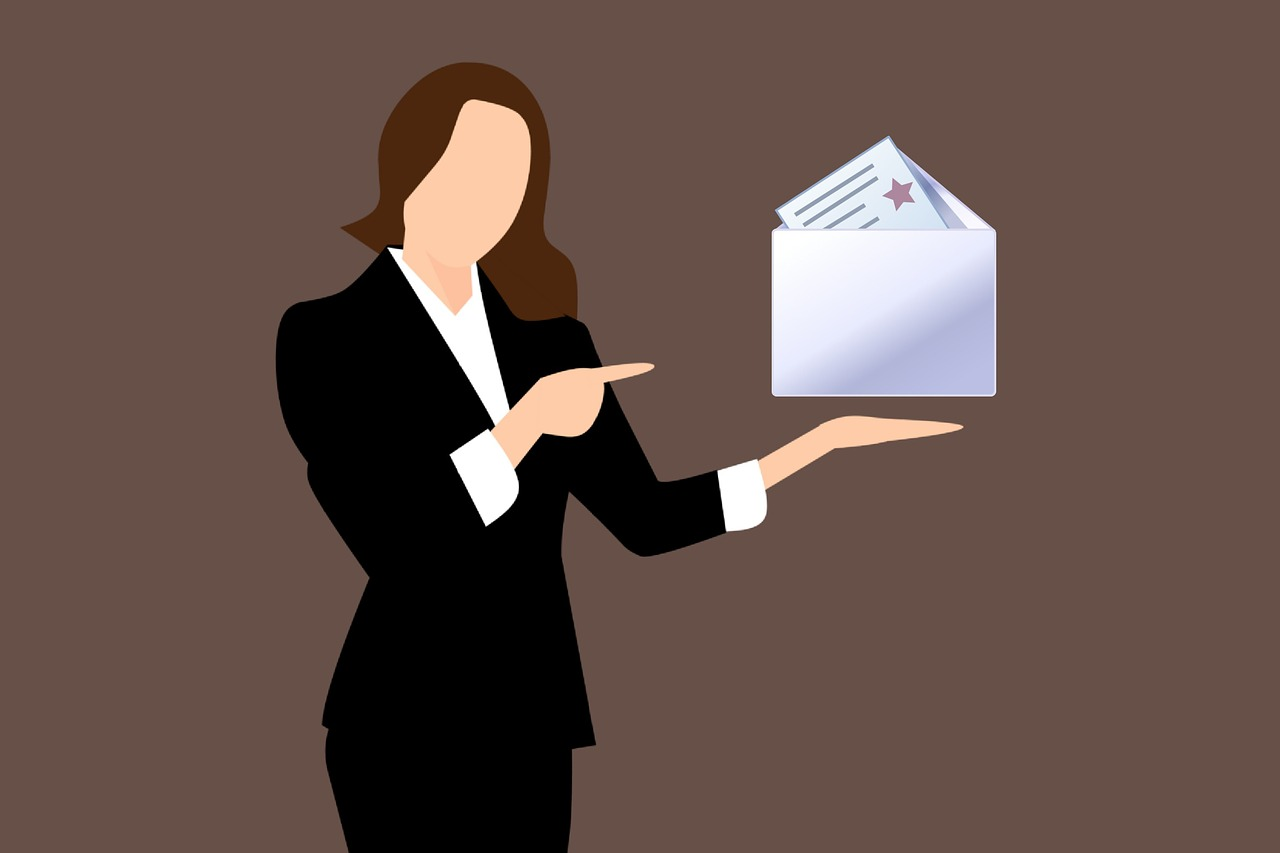Businesswoman with Newsletter