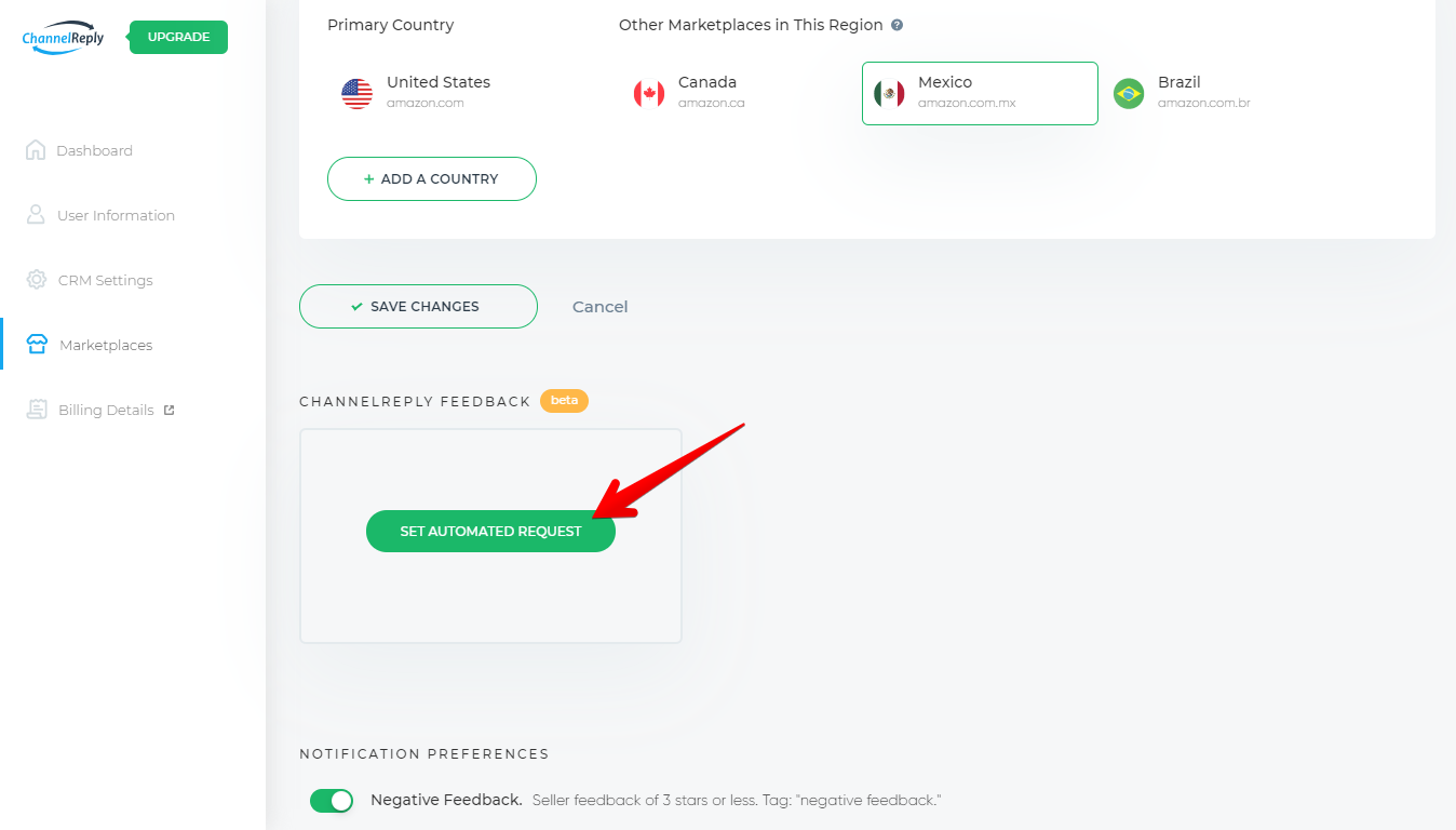 Set Automated Request Button