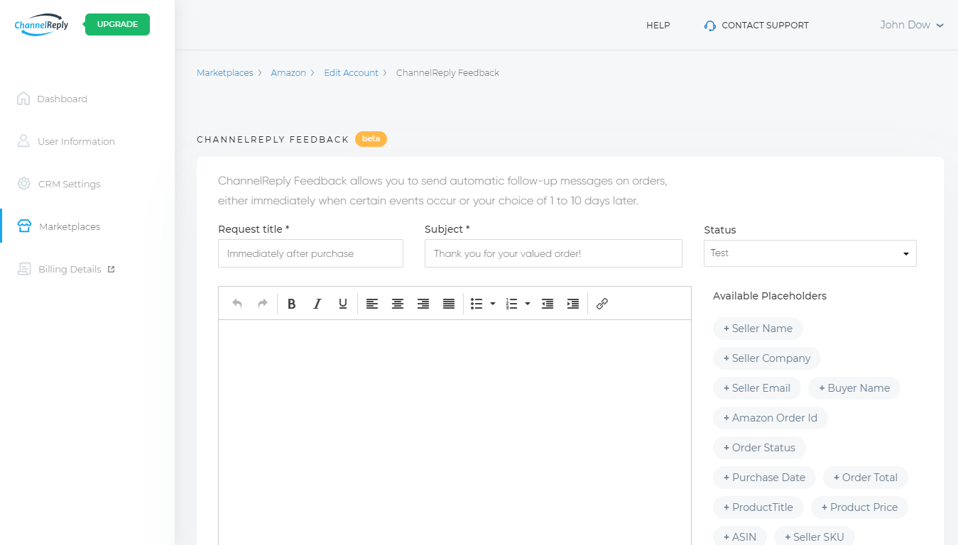 ChannelReply Feedback Interface