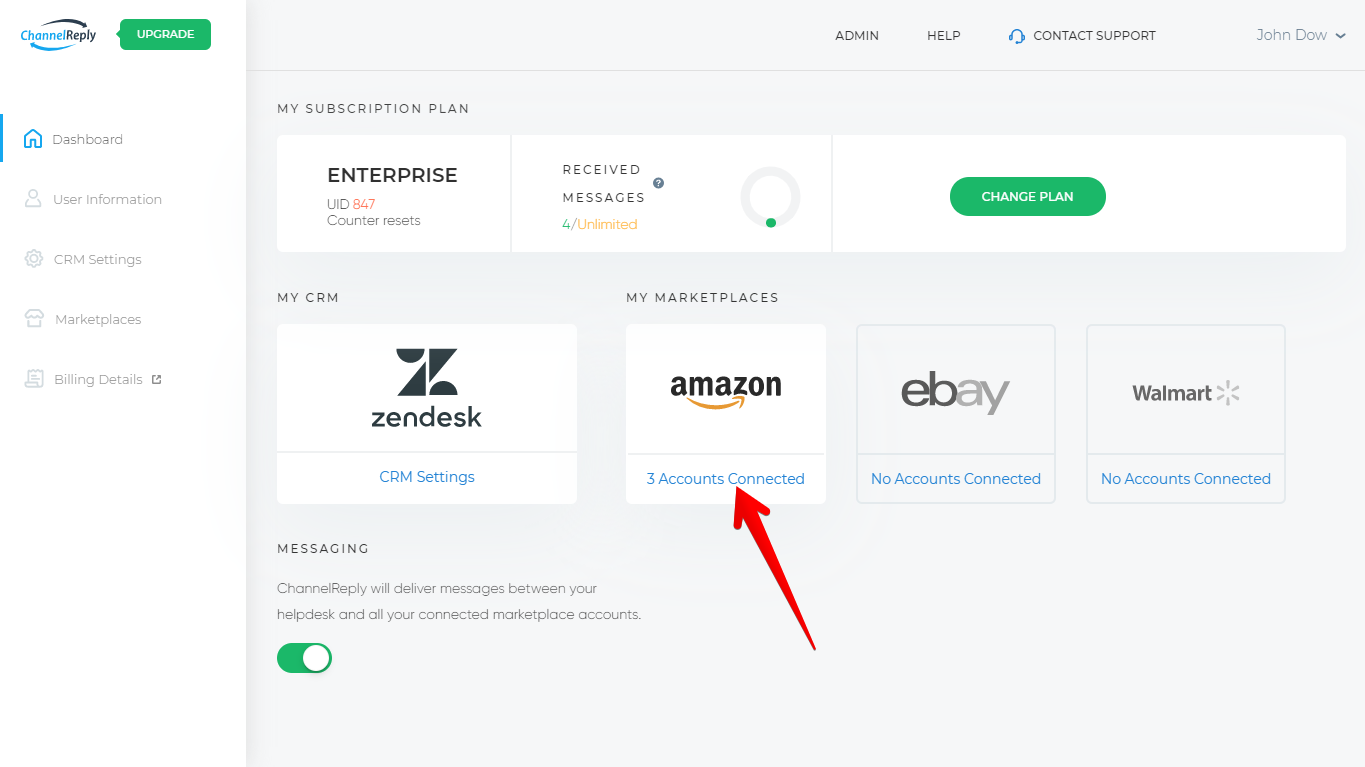 Connected Amazon Accounts on the ChannelReply Dashboard