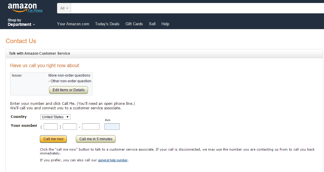 Contact Amazon Support by Phone or Email