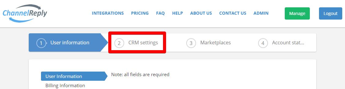 CRM Settings Tab