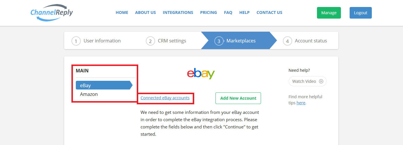 Connected eBay Accounts in ChannelReply