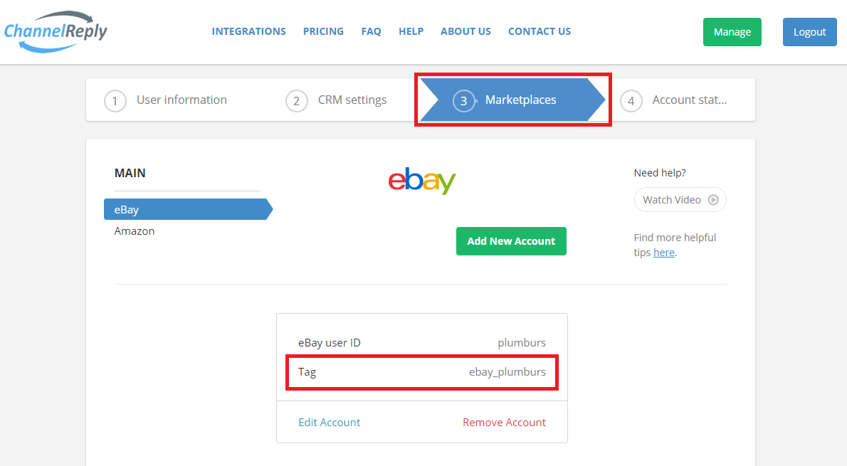 Where to Find eBay Tags in ChannelReply