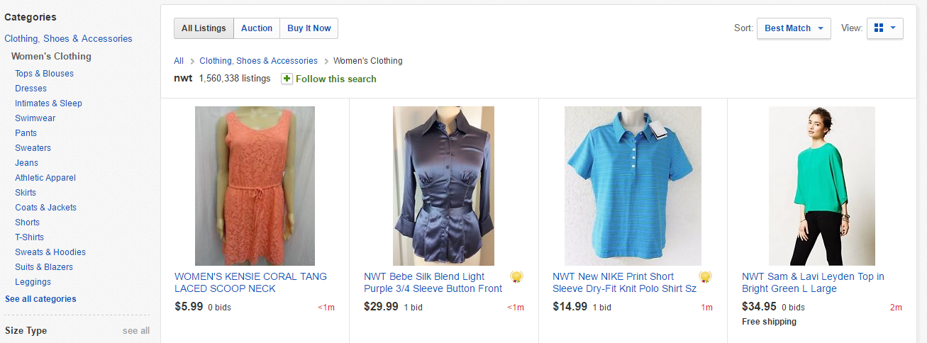 Apparel on eBay