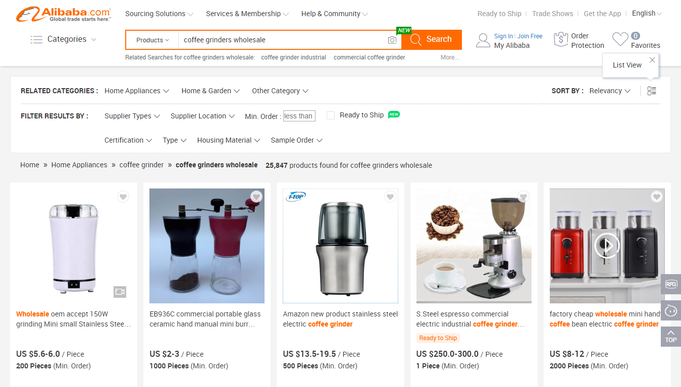 Coffee Grinders on Alibaba