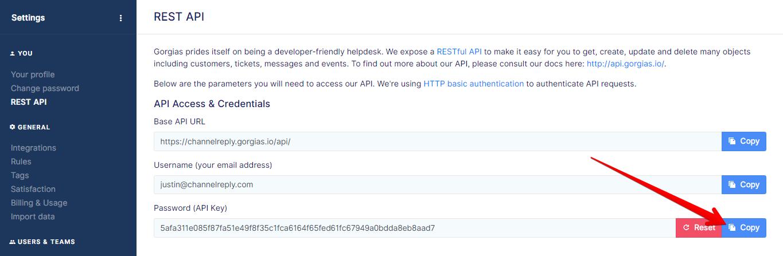 Copy Button for Gorgias API Key