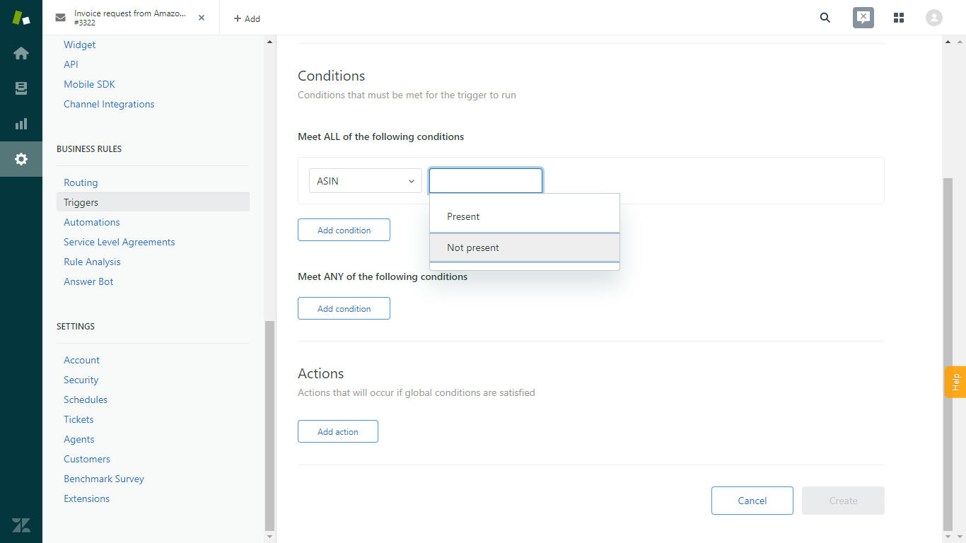 Custom Field in Zendesk Trigger with Present or Not Present Options