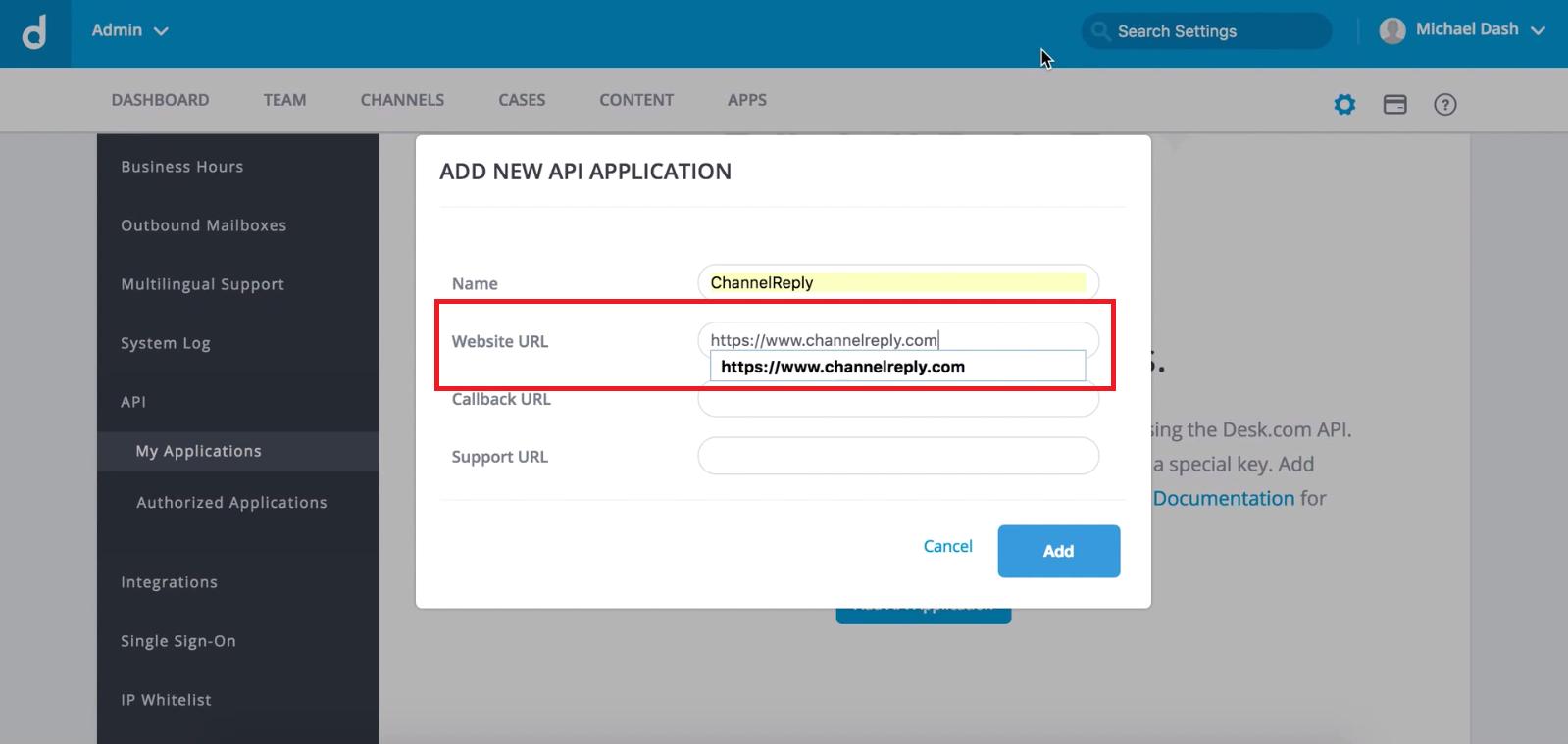 Add New Application Pop-Up