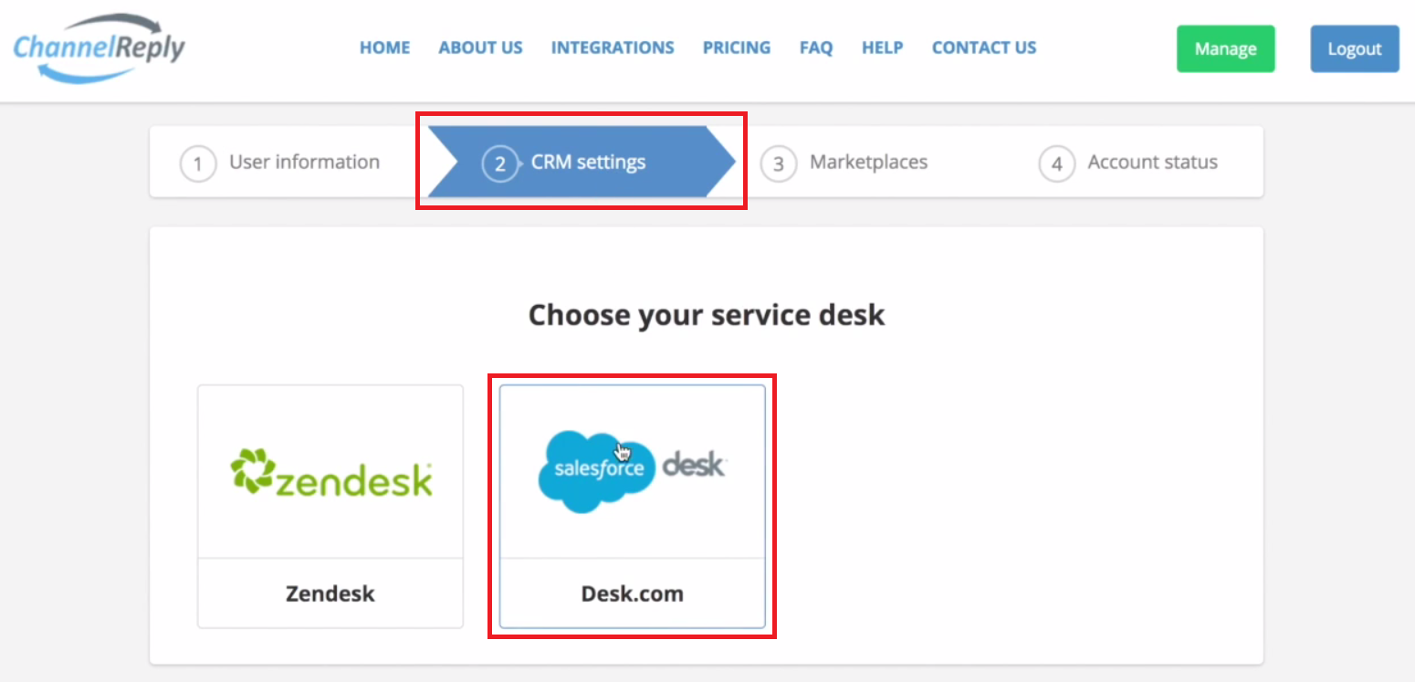 Select Desk in ChannelReply CRM Settings