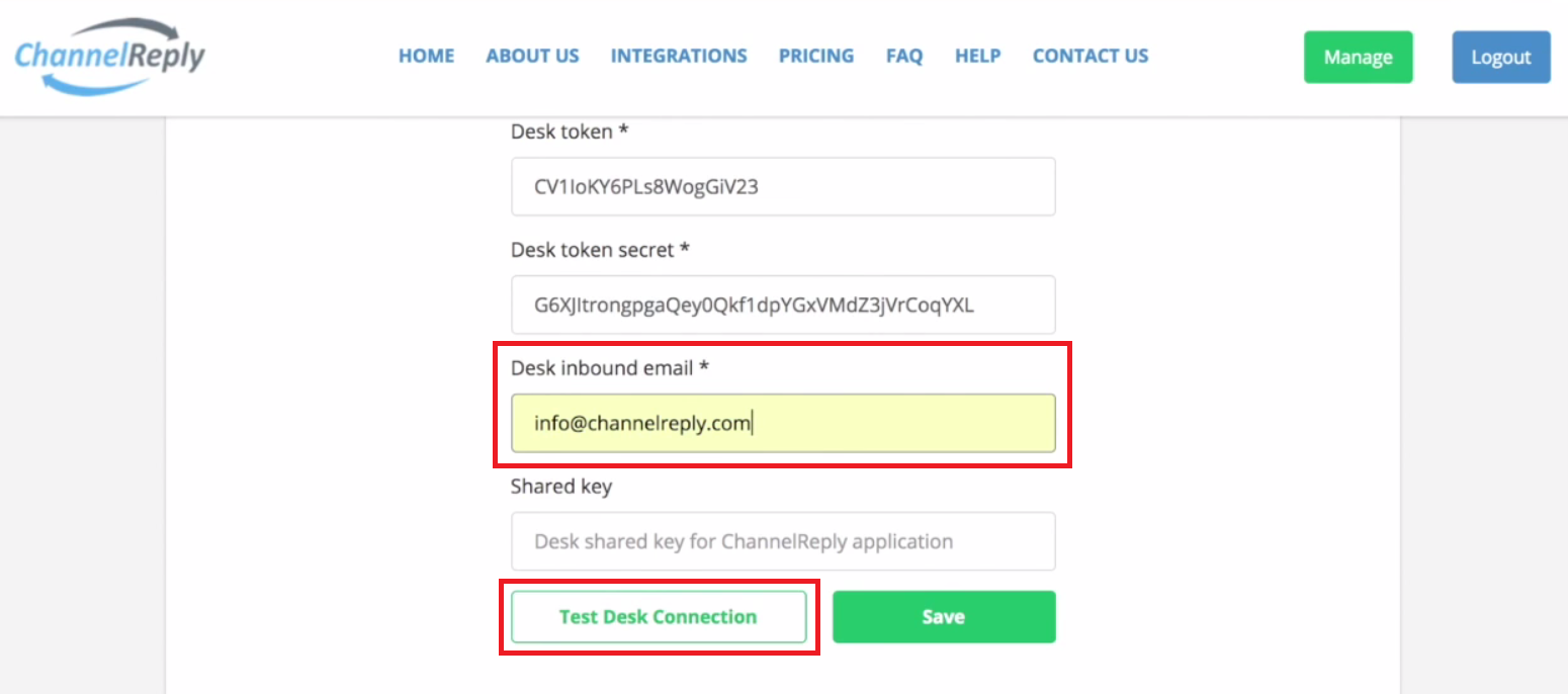 Test Desk Connection with ChannelReply