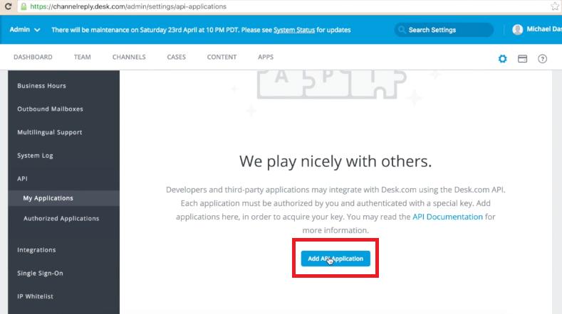 Add API Application to Desk.com