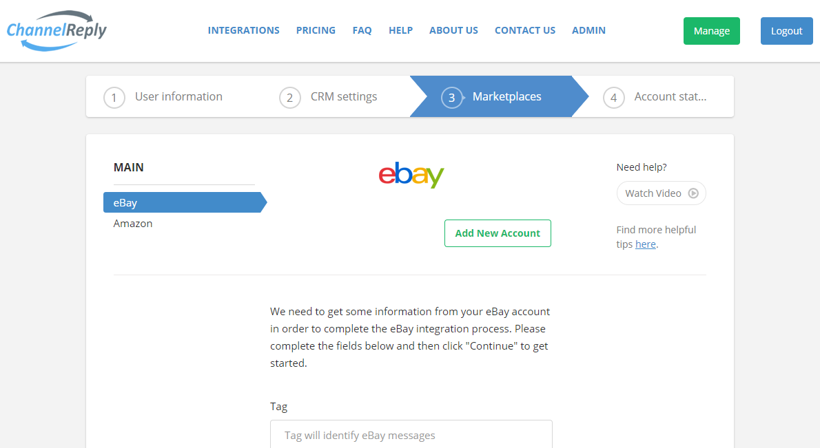 ChannelReply eBay Setup Page