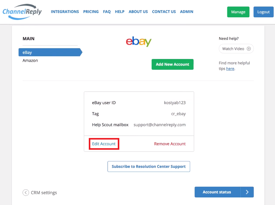 Edit eBay Account Settings in ChannelReply