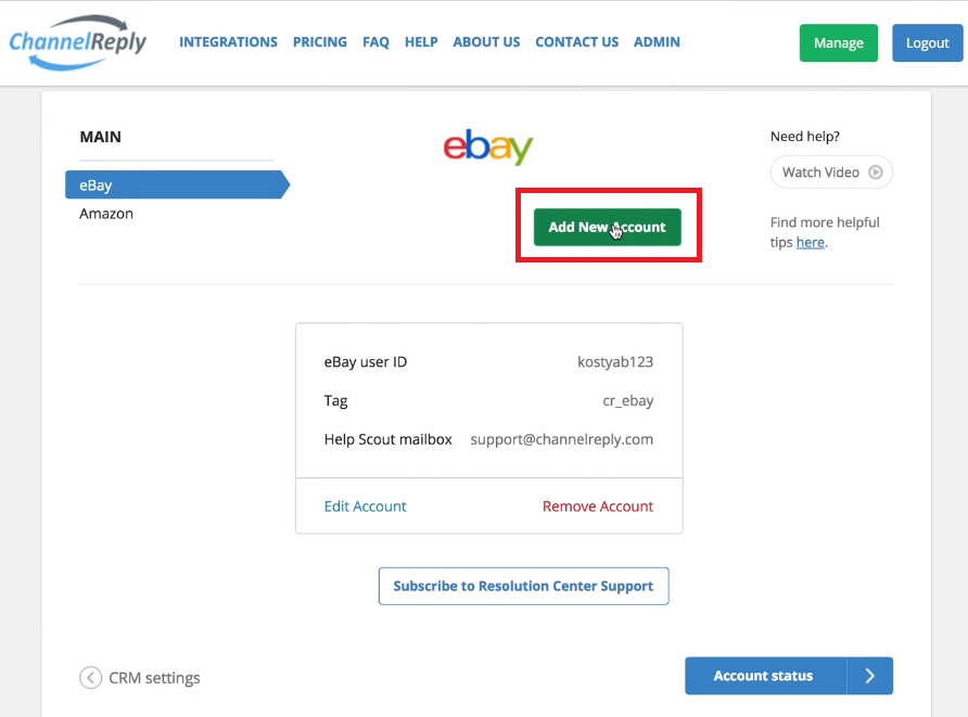 How to Add Another eBay Account to ChannelReply