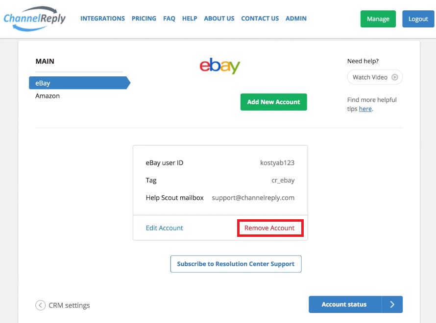 Remove eBay Account