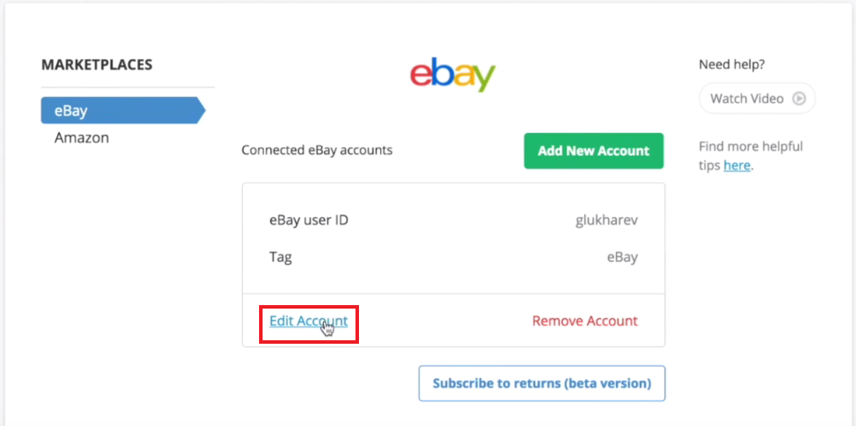 Where to Edit eBay Tag