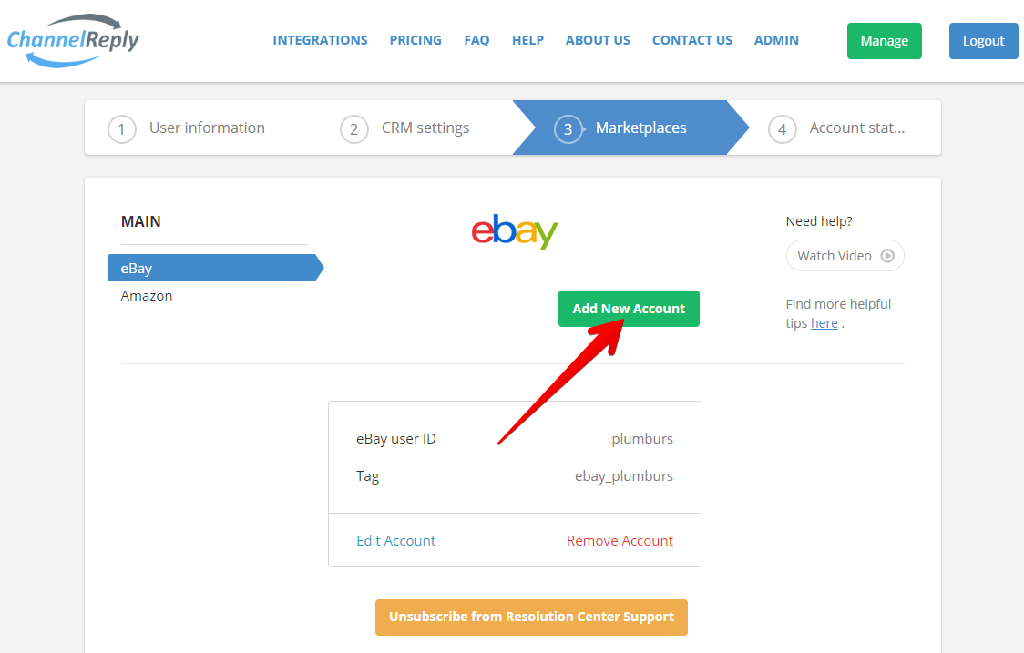 Add Second eBay Account to ChannelReply