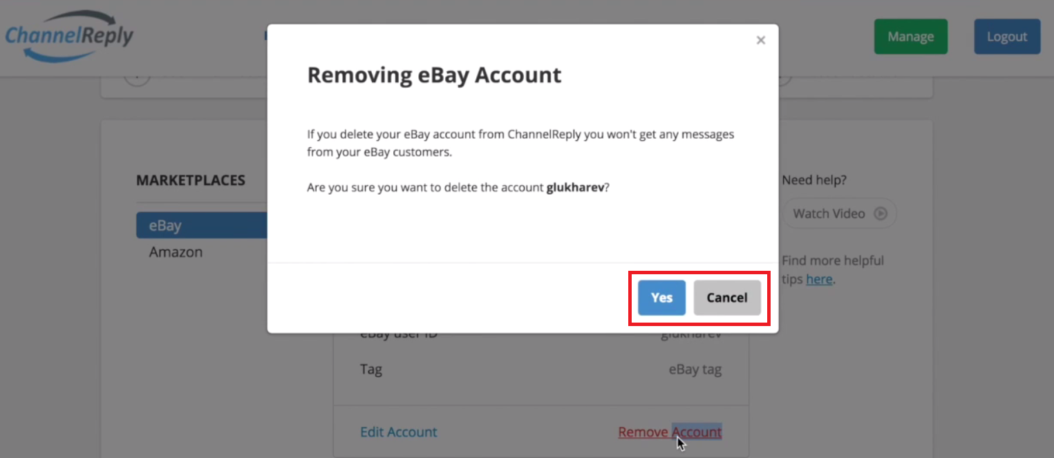 Confirm eBay Account Removal