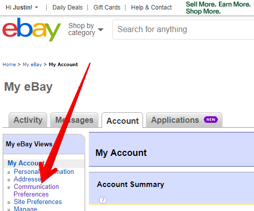 eBay Communication Preferences
