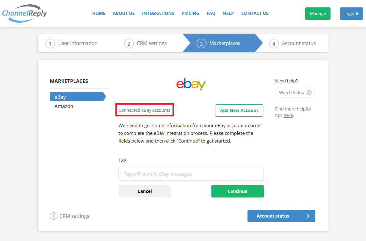 Check Connected eBay Accounts