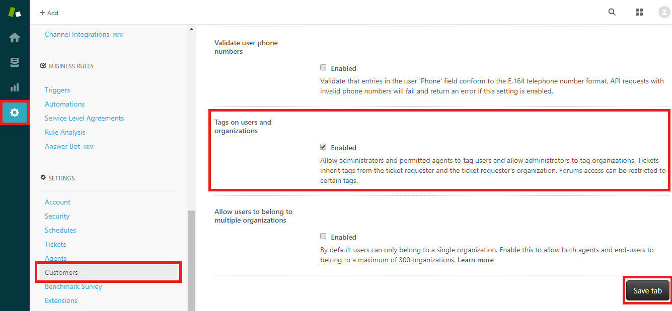 How to Enable Tagging of Users and Organizations in Zendesk