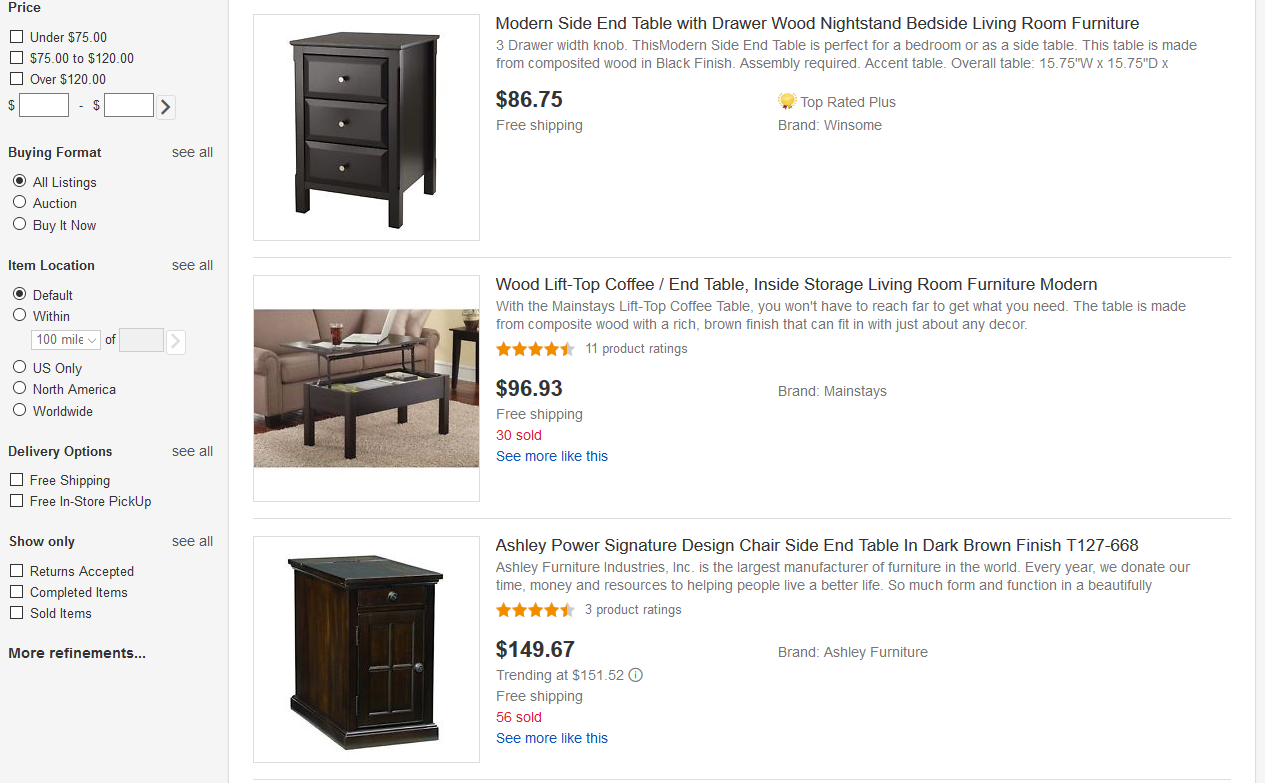 End Tables on eBay