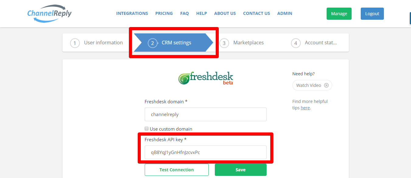 Freshdesk API Key in ChannelReply